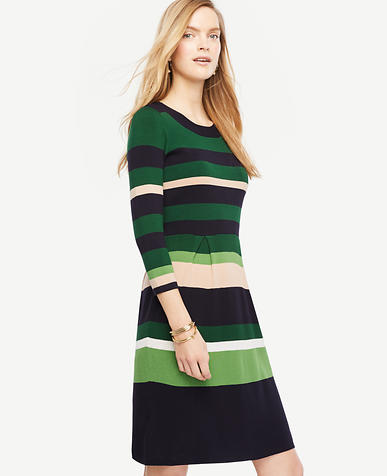 Image of Petite Stripe Flare Sweater Dress