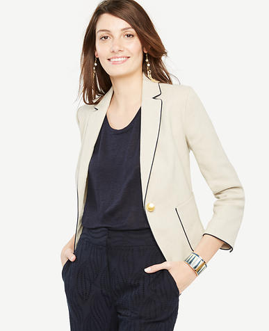 Image of Petite Piped Linen Blend Blazer