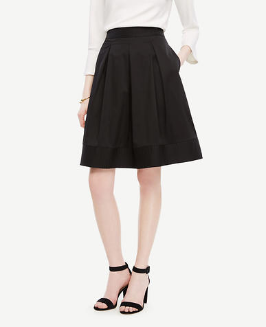 Image of Petite Poplin Pleated Full Skirt