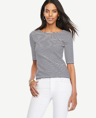 Image of Petite Striped Doubleface Boatneck Tee