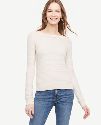 Image of Petite Scallop Textured Sweater
