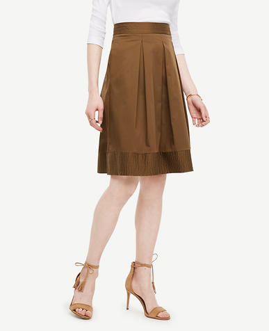 Image of Tall Poplin Pleated Full Skirt