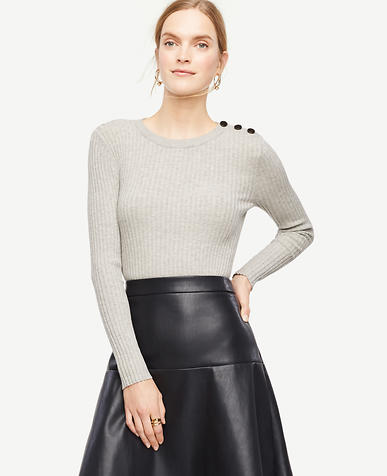 Image of Shoulder Button Ribbed Sweater