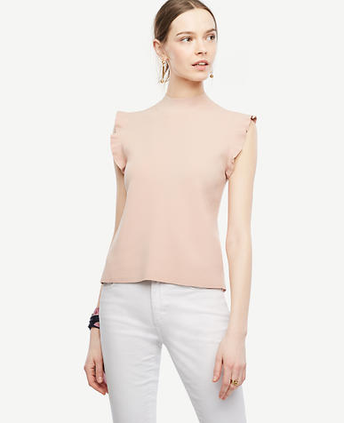 Image of Petite Ruffle Sleeve Mock Neck Sweater