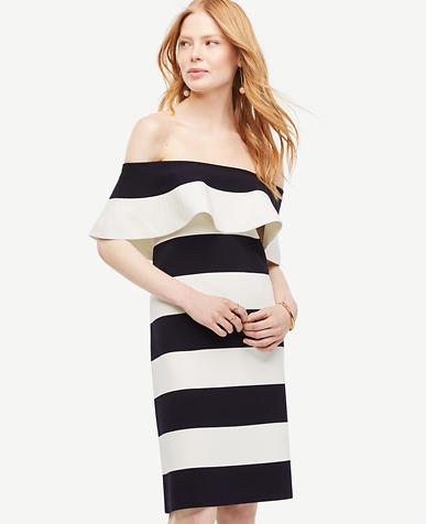 Image of Stripe Off The Shoulder Sheath Sweater Dress