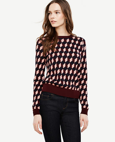 Image of Petite Geo Jacquard Sweater