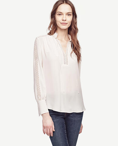 Image of Petite Lacy Tie Neck Blouse
