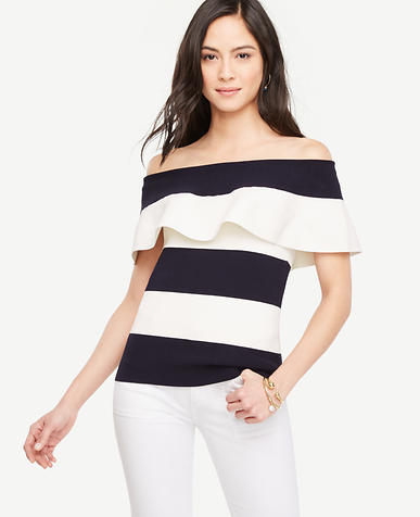 Image of Petite Off The Shoulder Ruffle Sweater