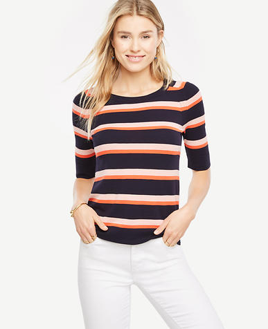 Image of Petite Striped Short Sleeve Sweater