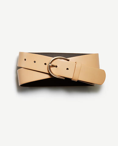Image of Rounded Buckle Leather Belt