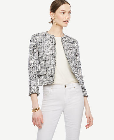 Image of Petite Grid Fringe Tweed Open Jacket