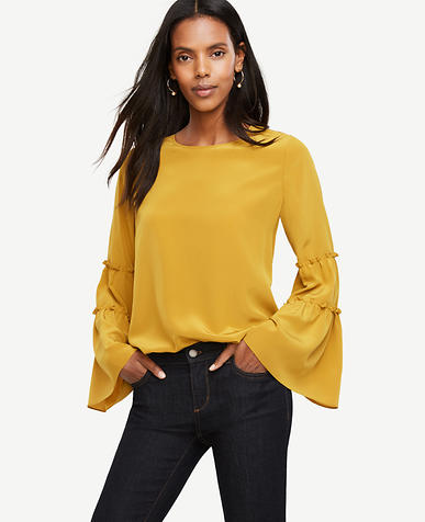 Image of Petite Bell Sleeve Silk Blouse