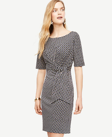 Image of Petite Daisy Jacquard Tied Matte Jersey Dress