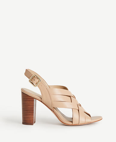 Image of Flor Woven Leather Block Heels