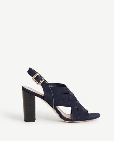 Image of Flor Woven Suede Block Heels