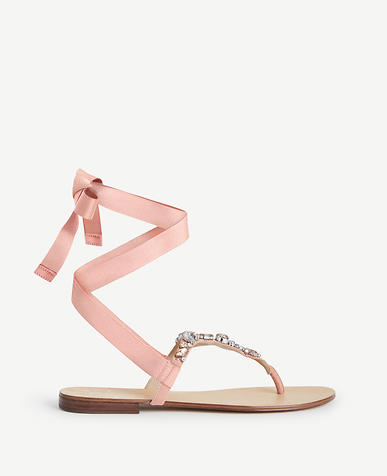 Image of Gayla Jeweled Lace Up Thong Sandals