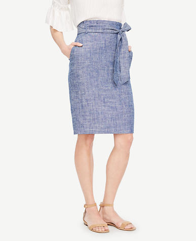 Image of Chambray Paper Bag Skirt