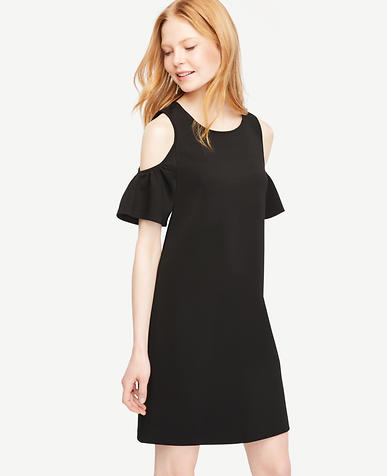 Image of Petite Cold Shoulder Flutter Sleeve Dress