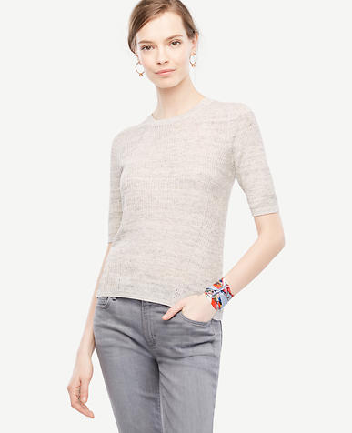 Image of Heathered Elbow Sleeve Knit Tee
