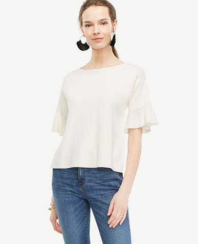 Image of Petite Ruffle Sleeve Sweater