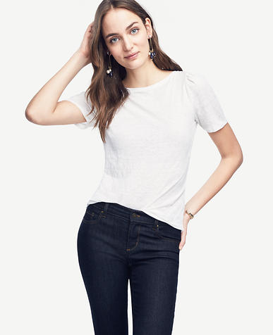 Image of Puff-Sleeve Linen Sunday Tee