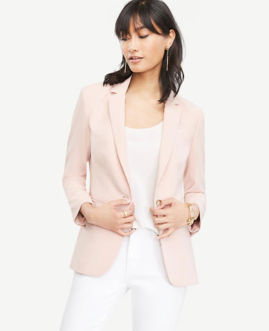 Image of Petite Triacetate One Button Jacket
