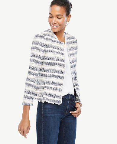 Image of Petite Stripe Tweed Fringe Jacket