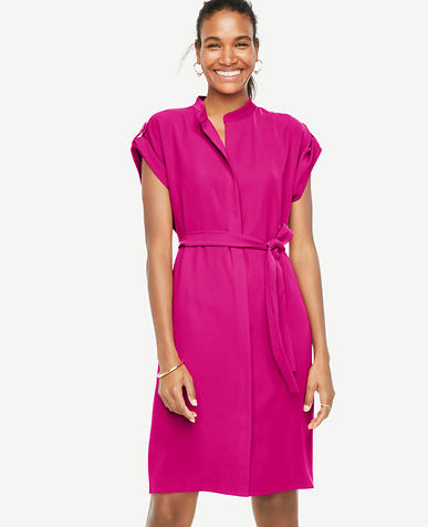 Image of Belted Short Sleeve Shirtdress