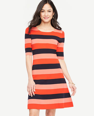 Image of Striped Sweater Swing Dress