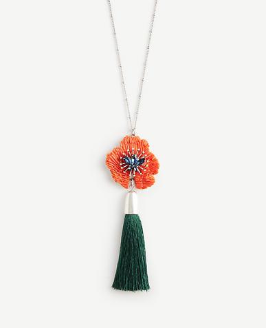 Textured Floral Tassel Pendant