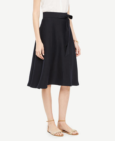 Image of Linen Blend Tie Waist Skirt