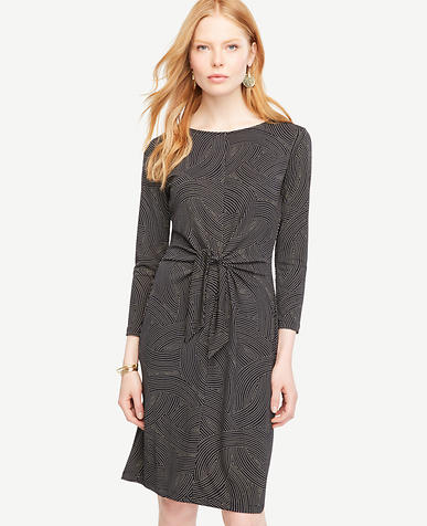 Image of Dot Wave Tie Front Dress