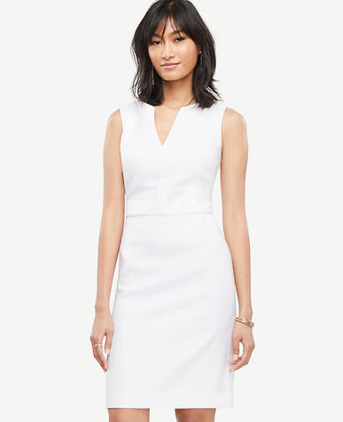 Image of Petite Tweed Split Neck Sheath Dress