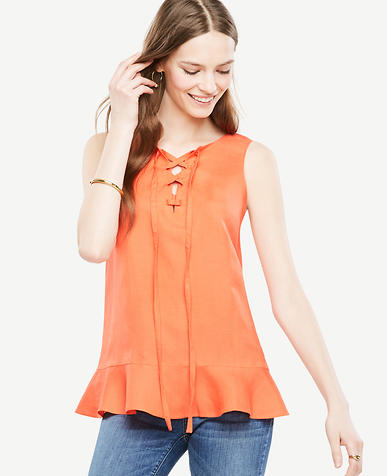 Image of Sleeveless Lace-Up Peplum Top