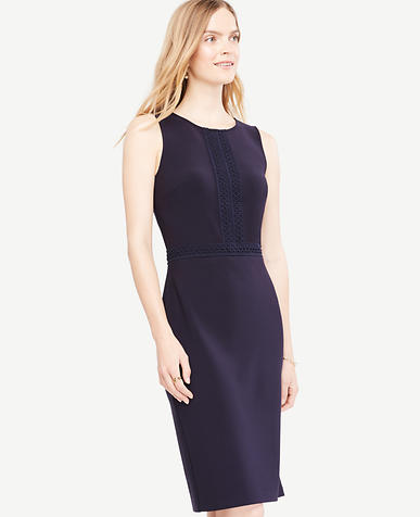 Image of Lace Trim Sheath Dress