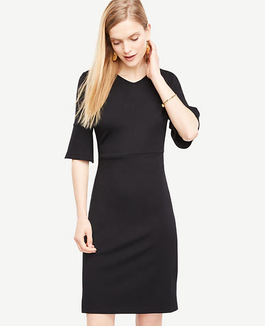 Image of Fluted Sleeve Sheath Dress