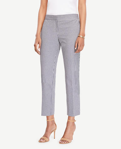 Image of The Petite Ankle Pant in Seersucker - Devin Fit