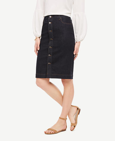 Image of Petite Button Front Denim Skirt