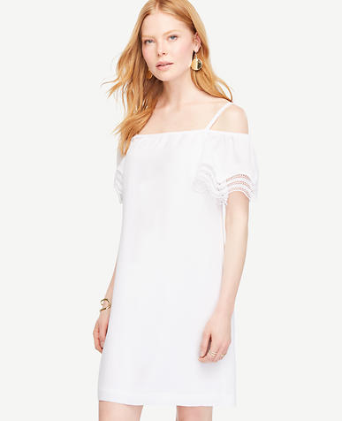 Image of Petite Cold Shoulder Eyelet Trim Shift Dress