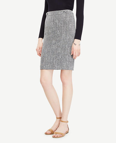 Image of Tweed Button Tab Skirt