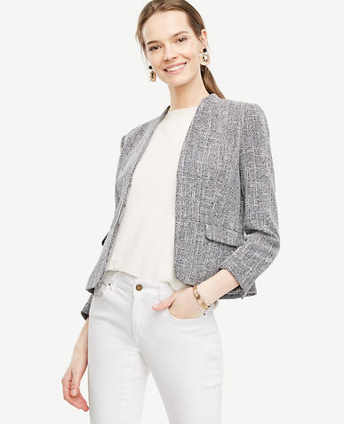 Image of Tweed Collarless Jacket