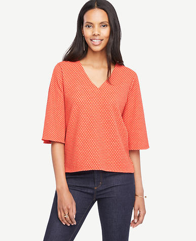 Image of Dot Crepe Flounce Sleeve Top