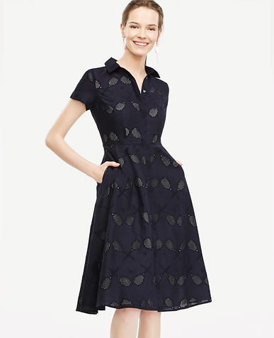 Image of Petite Eyelet Tennis Racquet Shirt Dress