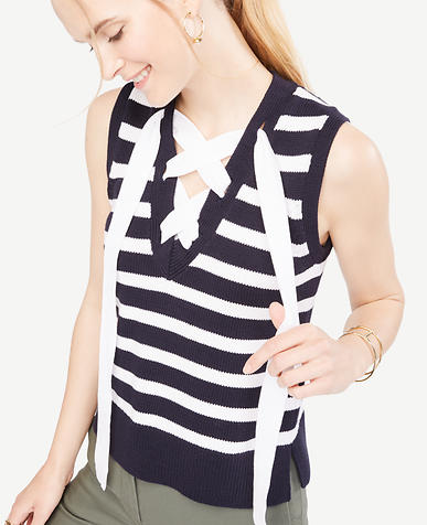 Image of Stripe Sleeveless Lace Up Sweater