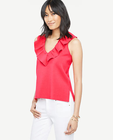 Image of Deep V Sleeveless Flounce Neck Top