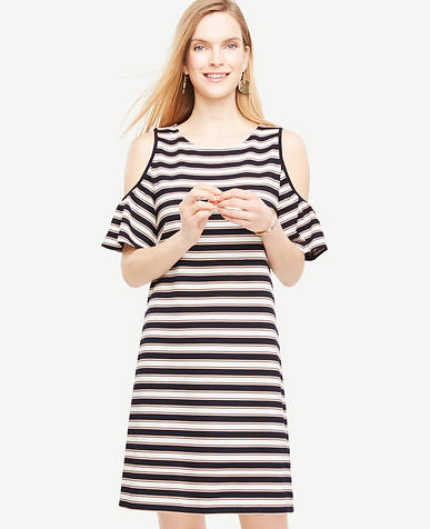 Image of Petite Stripe Cold Shoulder Flutter Sleeve Dress
