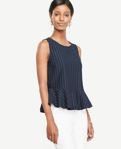 Image of Ponte Pinstripe Peplum Top