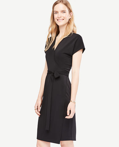Image of Petite Short Dolman Sleeve Wrap Dress