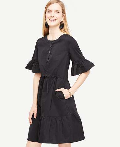 Image of Fluted Sleeve Poplin Shirt Dress
