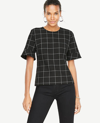 Windowpane Flutter Cuff Top